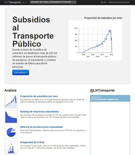 Figure 48. The <em>Transport Subsidies Explorer</em> (La Nación)