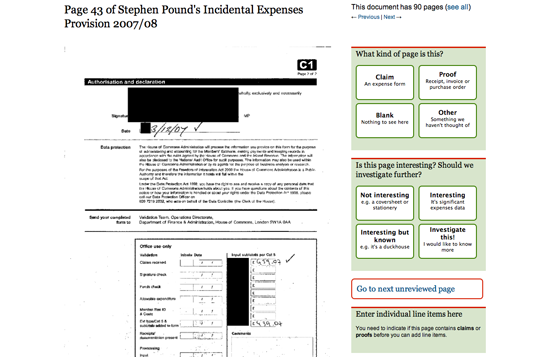 Figure 65. A redacted copy of Stephen Pound's incidental expenses (The Guardian)