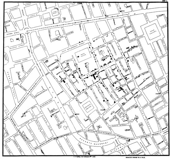 Figure 96. <em>Cholera Map of London</em> (John Snow)