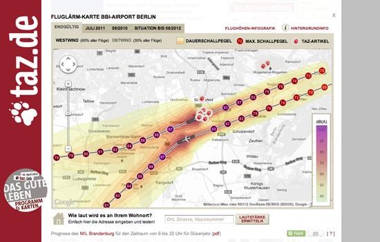 Figure 25. <em>Airport noise map</em> (Taz.de)