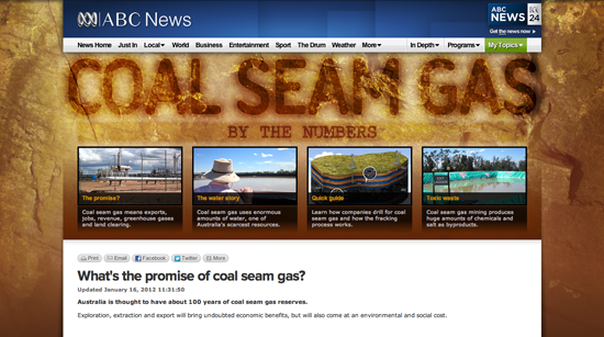 Figure 13. <em>Coal Seam Gas by the Numbers</em> (ABC News Online)