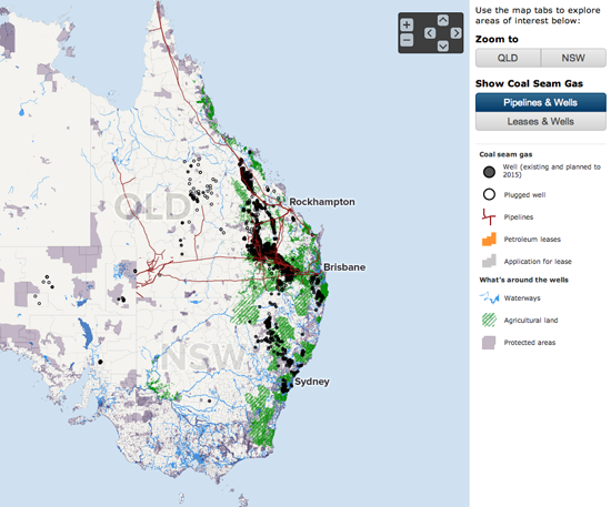 Figure 14. Interactive map of gas wells and leases in Australia (ABC News Online)