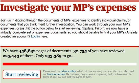Figure 3. <em>Investigate your MP's Expenses</em> (The Guardian)